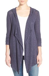 Women's Velvet By Graham And Spencer Hooded Drape Front Cardigan