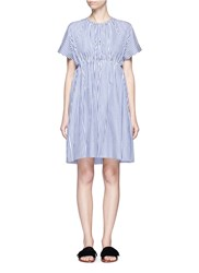Victoria Beckham Stripe Gathered Empire Waist Dress Blue