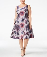 Adrianna Papell Plus Size Floral Print Fit And Flare Dress Purple Multi