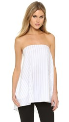 Timo Weiland Olivia Strapless Top With Pockets White Pinstripe