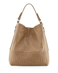 Neiman Marcus Wooster Woven Hobo Bag Taupe