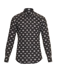 Dolce And Gabbana Crown Print Gold Fit Shirt