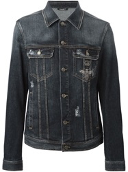 Dolce And Gabbana Faded Denim Jacket Blue