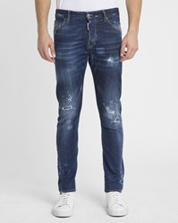 Dsquared Stone Washed Sexy Twist Patched Jeans Blue