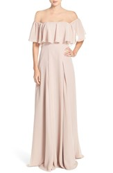 Monique Lhuillier Bridesmaids Women's Off The Shoulder Chiffon Gown Rose