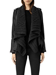 Allsaints Wrap Cable Leather Biker Jacket Black Charcoal