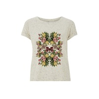 Ultra Tee Speckled Rolled Sleeve T Shirt Flowers Nude Neutrals