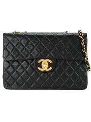 Chanel Vintage Jumbo Quilted Shoulder Bag Black