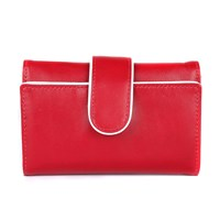 Dents Ladies Piped Edge Flap Over Tab Purse Berry