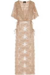 Agent Provocateur Soiree Gayle Hooded Metallic Leavers Lace Robe Gold