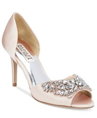 Badgley Mischka Candance Embellished D'orsay Pumps Women's Shoes Light Pink