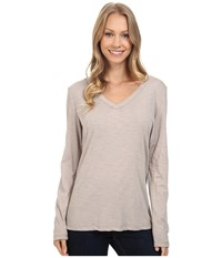Dylan By True Grit Gauzy Cotton Long Sleeve V Neck Tee Heather Women's Long Sleeve Pullover Gray