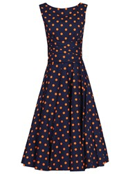 Jolie Moi Polka Dot 50S Wrap Belt Dress Navy