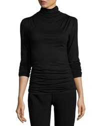 Max Studio Ruched Seam Jersey Top Black