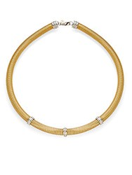 Alor Diamond 18K Yellow Gold And Stainless Steel Coil Necklace