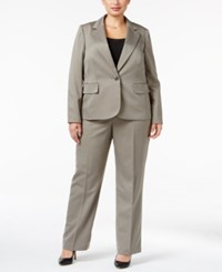 Le Suit Plus Size One Button Striped Pantsuit Light Stone