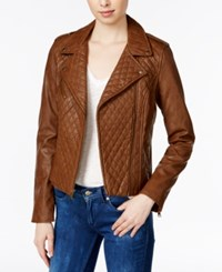 Levi's Quilted Faux Leather Moto Jacket Cognac