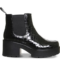 Vagabond Dioon Embossed Patent Leather Chelsea Boots Black Croc Leather