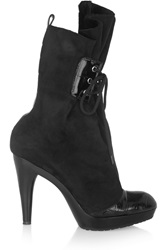 Vivienne Westwood Patent Leather Trimmed Suede Boots