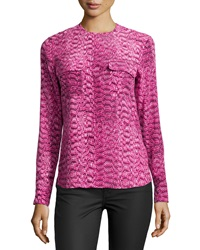 Equipment Lynn Snake Print Blouse Magenta