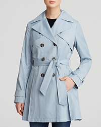 Laundry By Shelli Segal Coat Double Breasted Button Front Trench Paris Sky