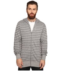 Vissla Fine Point Yarn Dye Stripe Zip Fleece Hoodie Grey Heather Men's Sweatshirt Gray