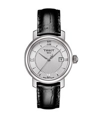 Tissot Ladies Bridgeport Stainless Steel Leather Strap Watch Silver