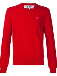 Comme Des Gara Ons Play Heart Application Sweatshirt Red