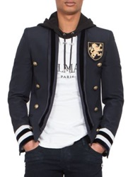 Balmain Striped Military Blazer Navy
