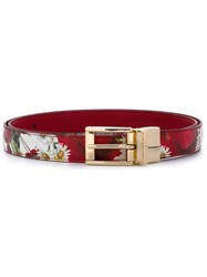 Dolce And Gabbana Daisy And Poppy Print Belt Red