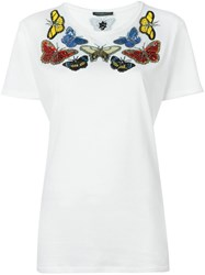 Alexander Mcqueen Embroidered Butterfly T Shirt White