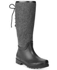 Nine West Oops Back Lace Up Rain Boots Women's Shoes Dark Grey Multi