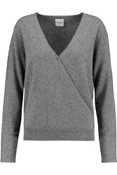 Madeleine Thompson Wrap Effect Cashmere Sweater Gray