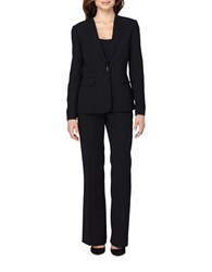 Tahari By Arthur S. Levine Solid Turnlock Jacket And Pant Suit Black
