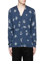 Alexander Mcqueen Nautical Polka Dot Print Cotton Silk Cardigan Blue