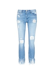 3X1 'Wm3' Fringe Cuff Distressed Cropped Jeans Blue