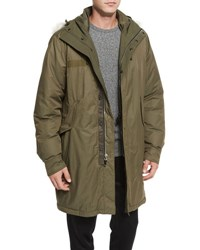 Rag And Bone Bullett Shearling Fur Trim Down Anorak Jacket Army Green
