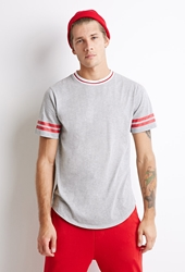 Forever 21 Varsity Striped Heathered Tee Heather Grey Red