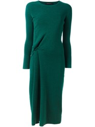 Cedric Charlier Long Sleeve Knit Dress Green
