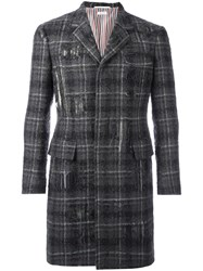 Thom Browne Tartan Boucle Coat Grey