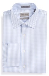 John W. Nordstrom Trim Fit Check Herringbone Dress Shirt Blue Hydrangea