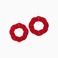 Tiffany And Co. Elsa Peretti Circle Hook Earrings In Red Woven Silk With 18K Gold.