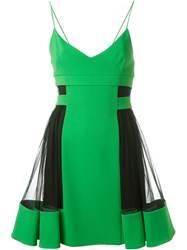 David Koma Tulle Panel Pleated V Neck Dress Green