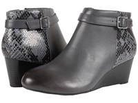 Vionic Elevated Shasta Wedge Boot Grey Snake Women's Wedge Shoes Gray