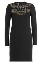 Valentino Star Stripes Dress With Virgin Wool And Silk Black