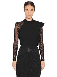 Self Portrait Ophelia Lace And Ruffled Crepe Top