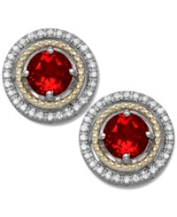 Macy's Garnet 1 1 4 Ct. T.W. And Diamond 1 8 Ct. T.W. Stud Earrings In 14K Gold And Sterling Silver