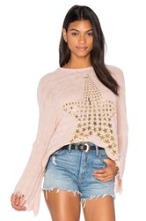 Lauren Moshi Esme Fringe Bell Sleeve Sweater Blush