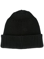 Stone Island Shadow Project Ribbed Knit Beanie Black