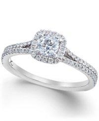 X3 Certified Diamond Halo Engagement Ring In 18K White Gold 3 4 Ct. T.W.